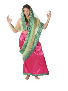 disfraz de hindú lujo mujer adulto. Conviértete en una verdadera ciudadana de la india con este llamativo disfraz de hindú mujer,inspirado en la vestimenta tradicional de la cultura hindú.Este disfraz es ideal para tus fiestas temáticas de disfraces del mundo, países y regionales mujer adultos.