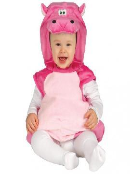 disfraz de hipopotamo de bebe rosa