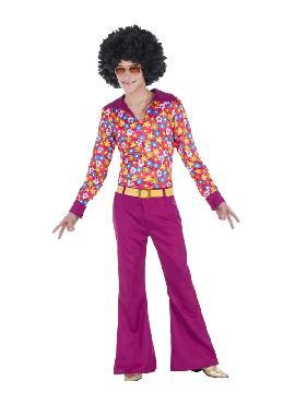 disfraz de hippie anos 70 flores hombre