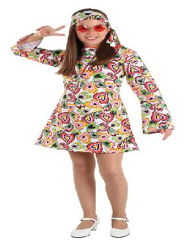 Disfraz de hippie años 70 para niña. Con este traje volverás a aquellos maravillosos años en los que primaba el lema paz y amor.Este disfraz es ideal para tus fiestas temáticas de disfraces de hippies y años 60,70 y 80 para infantiles. fabricacion nacional