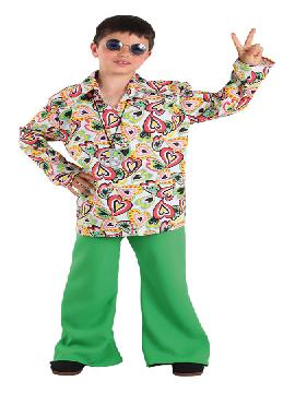 Disfraz de hippie años 70 para niño. Con este traje volverás a aquellos maravillosos años en los que primaba el lema paz y amor.Este disfraz es ideal para tus fiestas temáticas de disfraces de hippies y años 60,70 y 80 para infantiles. fabricacion nacional