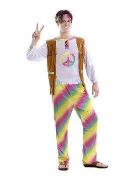 disfraz de hippie arcoiris para hombre
