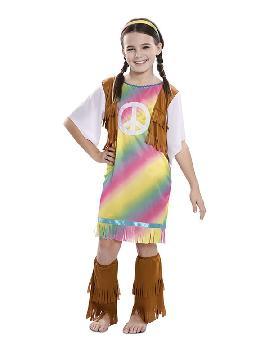 disfraz de hippie arcoiris para niña