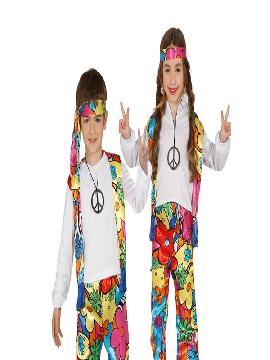 disfraz de hippie barato flores niño o niña. Con este traje volverás a aquellos maravillosos años en los que primaba el lema paz y amor en los colegios. Este disfraz es ideal para tus fiestas temáticas de disfraces hippies Años 60,70 y 80 infantil para grupos y familias.