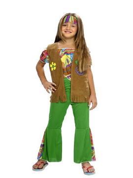 disfraz de hippie chaleco niña. Con este traje volverás a aquellos maravillosos años en los que primaba el lema paz y amor en los colegios. Este disfraz es ideal para tus fiestas temáticas de disfraces hippies Años 60,70 y 80 infantil para grupos y familias.