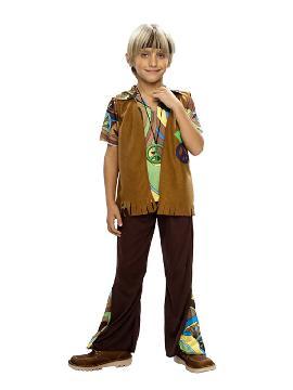 disfraz de hippie chaleco niño. Con este traje volverás a aquellos maravillosos años en los que primaba el lema paz y amor en los colegios. Este disfraz es ideal para tus fiestas temáticas de disfraces hippies Años 60,70 y 80 infantil para grupos y familias.