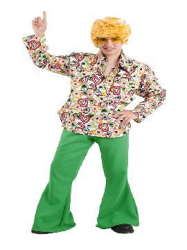 Disfraz de hippie colorido hombre. Con este traje volverás a aquellos maravillosos años en los que primaba el lema paz y amor.Este disfraz es ideal para tus fiestas temáticas de disfraces de hippies y años 60,70 y 80 para adulto. fabricación nacional