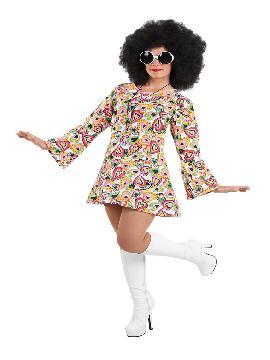 Disfraz de hippie colorido mujer. Con este traje volverás a aquellos maravillosos años en los que primaba el lema paz y amor.Este disfraz es ideal para tus fiestas temáticas de disfraces de hippies y años 60,70 y 80 para adulto. fabricación nacional
