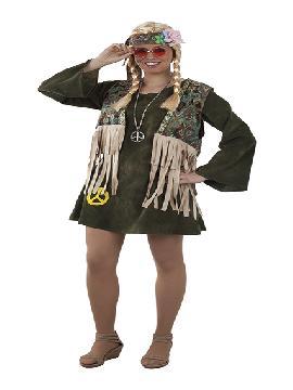 disfraz de hippie con chaleco deluxe mujer adulto. Vuelve a estos mágicos años con este traje de hippie con su vestido colorido y su bonito chaleco.Este disfraz es ideal para tus fiestas temáticas de disfraces hippies Años 60,70 y 80 para adultos.