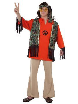disfraz de hippie con chaleco hombre adulto. Con este traje volverás a aquellos maravillosos años en los que primaba el lema paz y amor..Este disfraz es ideal para tus fiestas temáticas de disfraces hippies Años 60,70 y 80 adulto.