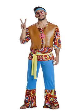 disfraz de hippie con chaleco hombre adulto. Con este traje volverás a aquellos maravillosos años en los que primaba el lema paz y amor..Este disfraz es ideal para tus fiestas temáticas de disfraces hippies Años 60,70 y 80 adulto para grupos y familias y lo pasareis en grande.