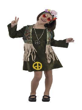 disfraz de hippie con chaleco niña infantil. Vuelve a estos mágicos años con este traje de hippie con su vestido colorido y su bonito chaleco.Este disfraz es ideal para tus fiestas temáticas de disfraces hippies Años 60,70 y 80 infantil.
