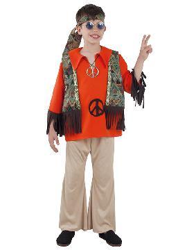 disfraz de hippie con chaleco niño infantil. Con este traje volverás a aquellos maravillosos años en los que primaba el lema paz y amor.Este disfraz es ideal para tus fiestas temáticas de disfraces hippies Años 60,70 y 80 infantil