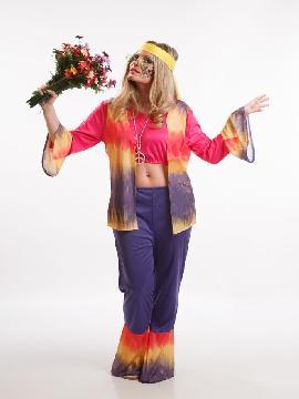 disfraz de hippie con chaleco para mujer