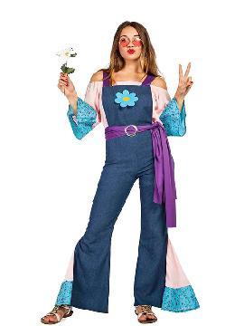 disfraz de hippie con flor mujer