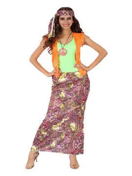 disfraz de hippie falda larga para mujer