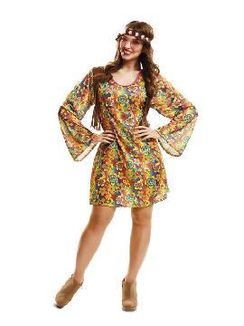 disfraz de hippie floreada mujer