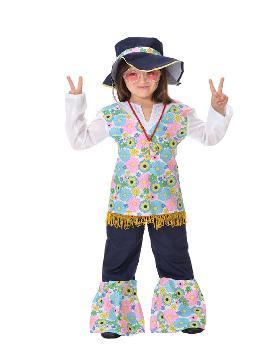 Disfraz de hippie flores para niña. Con este traje volverás a aquellos maravillosos años en los que primaba el lema paz y amor.Este disfraz es ideal para tus fiestas temáticas de disfraces de hippies y años 60,70 y 80 para infantiles. fabricacion nacional