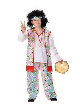 Disfraz de hippie flores para niño. Con este traje volverás a aquellos maravillosos años en los que primaba el lema paz y amor.Este disfraz es ideal para tus fiestas temáticas de disfraces de hippies y años 60,70 y 80 para infantiles. fabricacion nacional