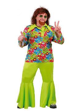 Dale la bienvenida a la época de la paz y el amor con el disfraz de hippie flower power hombre. Súbete a tu furgoneta retro con dibujos vintage y reparte las buenas vibraciones en las  fiestas temáticas, fFestivales hippies en los años 60, 70 y 80 adulto en pareja o familia.