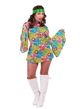 Las flores, los flecos y los vestidos coloridos están de moda y este disfraz de hippie flower power mujer te convertirán en el icono de la moda de los festivales hippies. Reparte amor y paz en las  fiestas temáticas, festivales hippies, despedidas, carnaval o cualquier fiesta disco de los años 60, 70, 80 para adulto en pareja o familia.