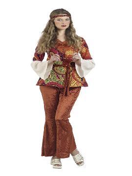 disfraz de hippie iris deluxe mujer. Vuelve a estos mágicos años con este traje de hippie con su traje tan colorido y su bonito chaleco.Este disfraz es ideal para tus fiestas temáticas de disfraces hippies Años 60,70 y 80 para adultos.