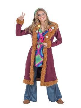 disfraz de hippie lujo con abrigo mujer