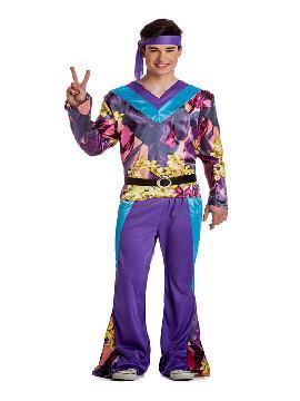 disfraz de hippie morado hombre