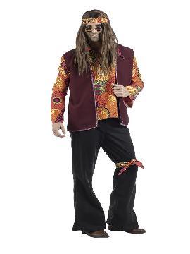 disfraz de hippie naranja para hombre