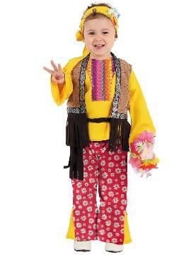 disfraz de hippie niña. Los pequeños de la casa se convertirán en seguidores del movimiento pacifista de paz y amor. Este disfraz es ideal para tus fiestas temáticas de disfraces hippies Años 60,70 y 80 para niñas infantiles
