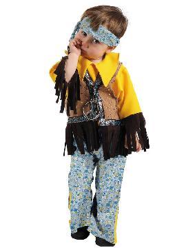 disfraz de hippie niño. Los pequeños de la casa se convertirán en seguidores del movimiento pacifista de paz y amor. Este traje es ideal para tus fiestas temáticas de disfraces hippies Años 60,70 y 80 para niños infantiles