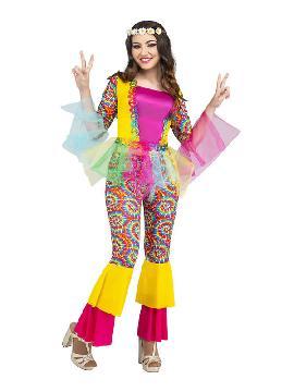 disfraz de hippie rosa mujer