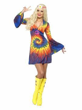 disfraz de hippie sesentera con vestido mujer