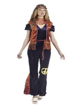 disfraz de hippie vera deluxe mujer. Vuelve a estos mágicos años con este traje de hippie con su traje tan colorido y su bonito chaleco.Este disfraz es ideal para tus fiestas temáticas de disfraces hippies Años 60,70 y 80 para adultos.