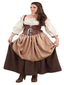 disfraz de hortelana medieval mujer. Compra tu disfraz barato y representar a una campesina, mesonera.Es ideal para tus ferias y mercados medievales.