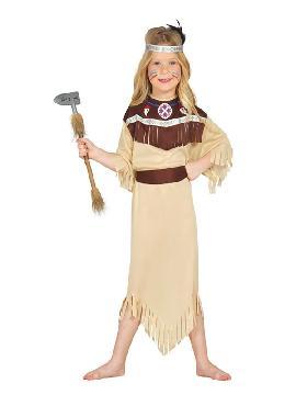 disfraz de india cherokee niña. Este comodísimo traje es perfecto para forma parte de una tribu en carnavales. Este disfraz es ideal para tus fiestas temáticas de disfraces de indios para infantiles y para grupos y familias.