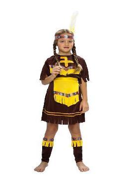 disfraz de india marron y amarilla niña. Este comodísimo traje es perfecto para forma parte de una tribu en carnavales. Este disfraz es ideal para tus fiestas temáticas de disfraces de indios para niñas y para grupos y familias.