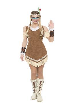 Este disfraz de india para mujer con vestido marron con tiras beig y brazaletes y unos preciosos brazaletes de tiras.Es ideal para una fiesta de indios y vaqueros del oeste en pareja. Donde no incluye los accesorios como la peluca. Este disfraz adulto es de ideal para fiestas de carnavales y despedidas de solteras con amigas.