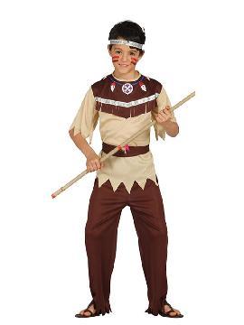disfraz de indio cherokee niño. Te convertirás en una auténtica chico de una tribu norteamericana de indios apache. Diviértete bailando la danza de la lluvia en tus fiestas temáticas y festivales escolares infantiles en familia
