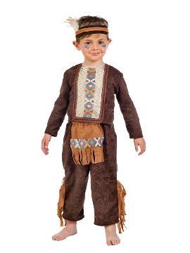 disfraz de indio deluxe bebe. Te convertirás en una auténtica chico de una tribu norteamericana de indios apache. Diviértete bailando la danza de la lluvia en tus fiestas temáticas y festivales escolares infantiles en familia