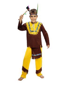 disfraz de indio marrón niño