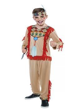 Este disfraz de indio para niño barato con pantalón es super gracioso y divertido para tu fiesta de indios y vaqueros del oeste. Donde no incluye los accesorios pero seras un autentico indio del oeste en color beige y cintas rojas. Este disfraz infantil es de ideal para fiestas de colegios, carnavales, halloween y cualquier fiesta temática de cumpleaños.