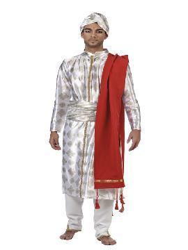 disfraz de hindu bollybood hombre. Siéntete como un auténtico Príncipe de Persia con este precioso traje de hindú inspirado en el esplendor de la cultura hindú. Este traje con una estética lujosa, al puro estilo de bollywood, es perfecto para tus fiestas temáticas y carnaval. Este disfraz es ideal para tus fiestas temáticas de disfraces Del mundo por países y regionales adulto.