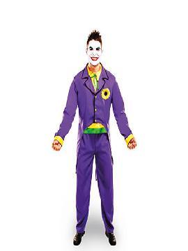 disfraz de joker lujo hombre adulto. Este disfraz muy versátil, ya que puedes caracterizar al archienemigo de Batman el villano Joker, a un hombre de época con chistera o un novio vampiro con frac.Este disfraz es ideal para tus fiestas temáticas de disfraces cuentos populares,famosos y músicos para hombre adultos.