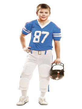 disfraz de jugador de rugby azul niño