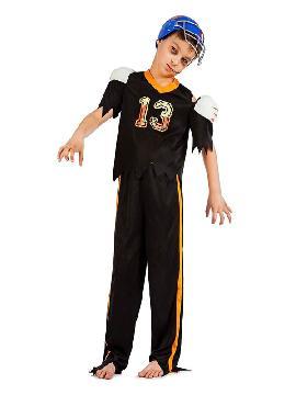 disfraz de jugador de rugby zombie niño. Sentirás la necesidad de corre cuando tengas el balón en tus manos. Márcate un tanto de olimpiada en Fiestas Temáticas o carnaval y halloween. Este disfraz es ideal para tus fiestas temáticas de disfraces de uniformes de trabajo y deporte para infantil.