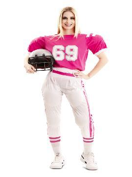 disfraz de jugadora futbol americano rosa mujer