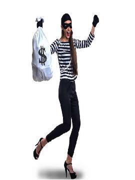 disfraz de ladrona para mujer adulto. Conviértete en el ladrona más excéntrico y sexy con este divertido y original traje para tus fiestas tematicas o carnaval, y busca a tu precioso ladron y vuestro motín. Este disfraz es ideal para tus fiestas temáticas de disfraces de uniformes de trabajo y deporte,policias,guardia civiles y presos adulto.