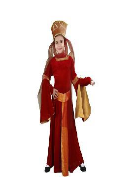 disfraz de lady ginebra niña infantil. Serás la dama con más color de todo el castillo. Los ojos de reyes y príncipes se posaran en tu belleza y elegancia queriendo ser tu pareja en las fiestas medievales.