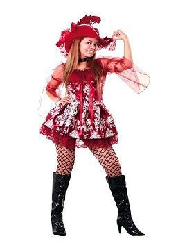 disfraz de lady pirata granate mujer. Seras una autentica pirata para viajar por los mares y enfrentarte a tu enemigo. Este disfraz es ideal para tus fiestas temáticas de disfraces de piratas, corsarios y bucaneros adulto en pareja o familia.